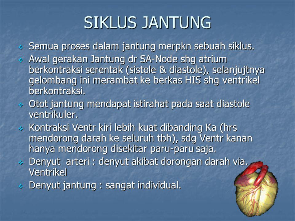 SIKLUS JANTUNG  Semua proses dalam jantung merpkn sebuah siklus.  Awal gerakan Jantung dr SA-Node shg atrium berkontraksi serentak (sistole & diasto