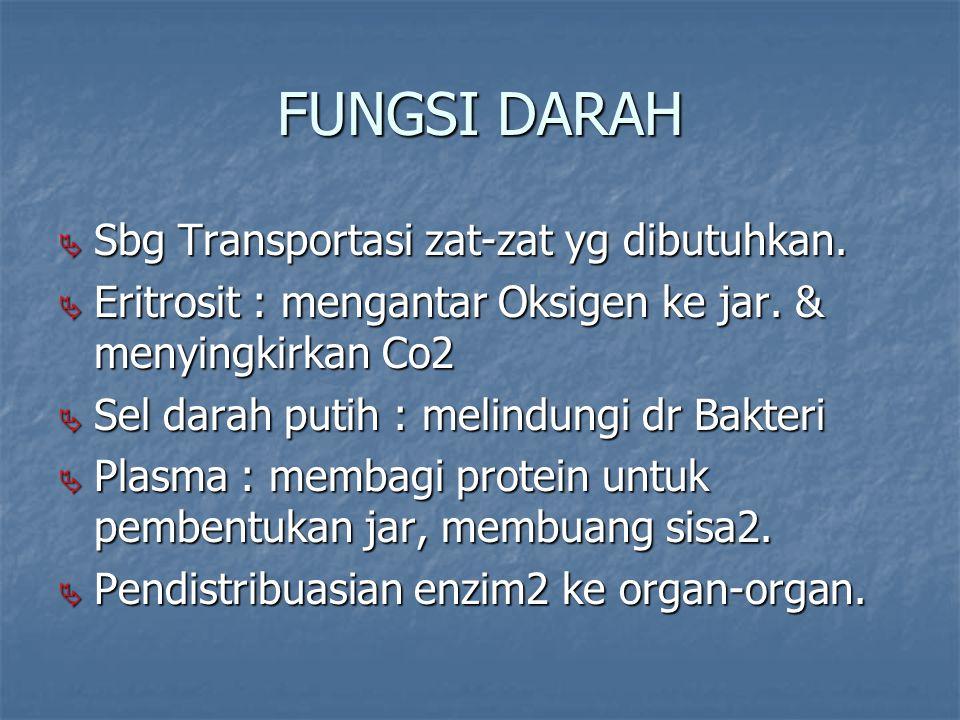 FUNGSI DARAH  Sbg Transportasi zat-zat yg dibutuhkan.  Eritrosit : mengantar Oksigen ke jar. & menyingkirkan Co2  Sel darah putih : melindungi dr B