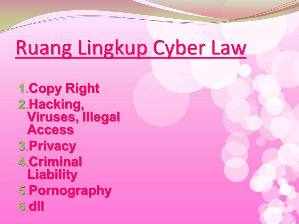 Cyberlaw Aspek hukum yang istilahnya berasal dari cyberspace law yang ruang lingkupnya meliputi setiap aspek yang berhubungan dengan orang perorangan atau subjek hukum yang menggunakan dan memanfaatkan teknologi internet yang dimulai pada saat mulai online dan memasuki cyberspace atau dunia maya.
