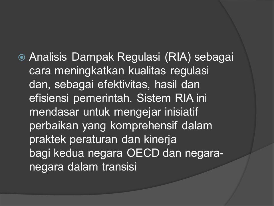  Analisis Dampak Regulasi (RIA) sebagai cara meningkatkan kualitas regulasi dan, sebagai efektivitas, hasil dan efisiensi pemerintah.