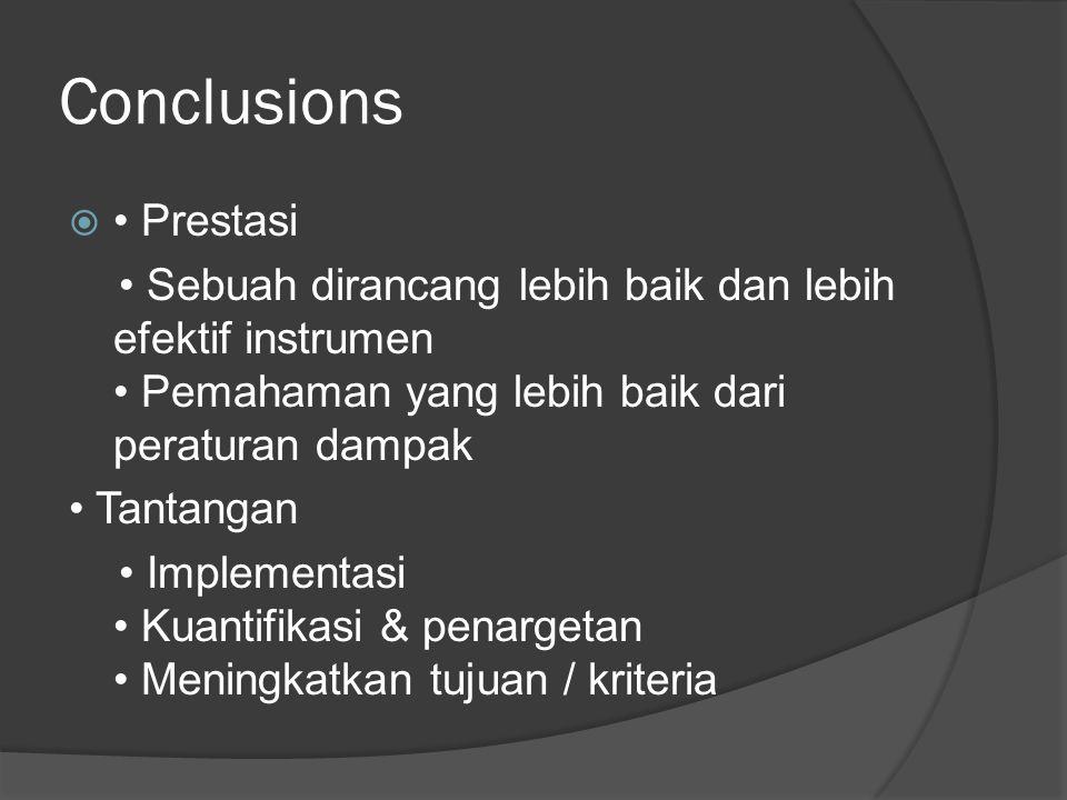 Conclusions  Prestasi Sebuah dirancang lebih baik dan lebih efektif instrumen Pemahaman yang lebih baik dari peraturan dampak Tantangan Implementasi Kuantifikasi & penargetan Meningkatkan tujuan / kriteria