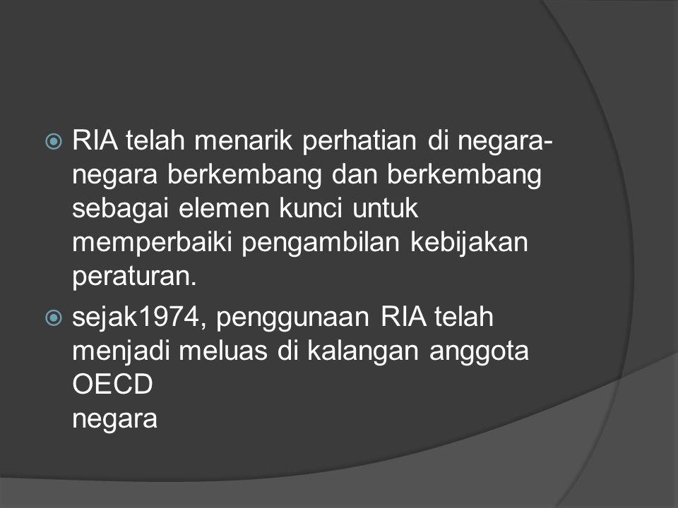  RIA telah menarik perhatian di negara- negara berkembang dan berkembang sebagai elemen kunci untuk memperbaiki pengambilan kebijakan peraturan.