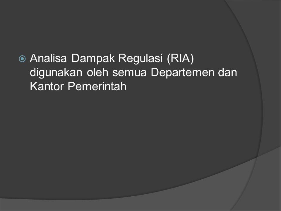  Analisa Dampak Regulasi (RIA) digunakan oleh semua Departemen dan Kantor Pemerintah