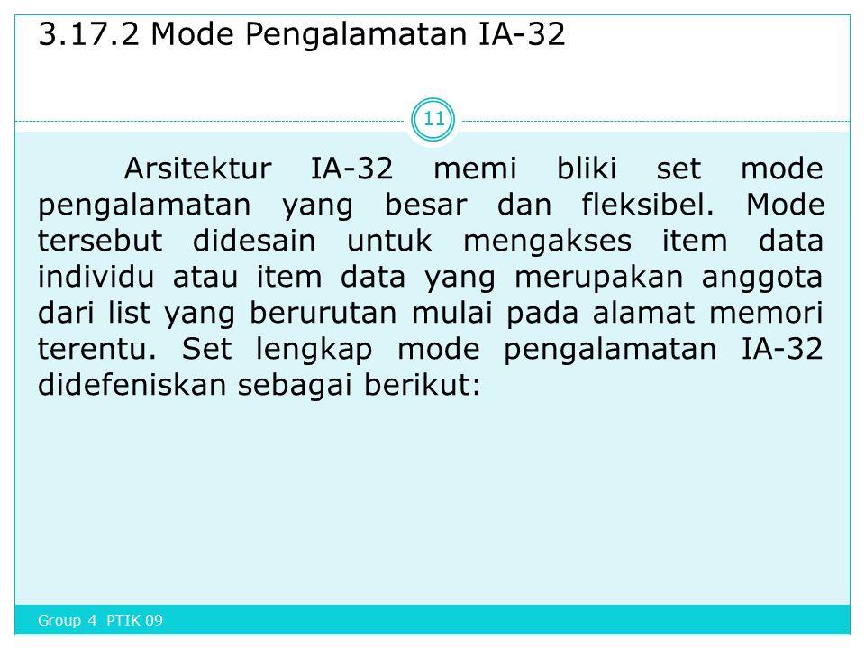 3.17.2 Mode Pengalamatan IA-32 Arsitektur IA-32 memi bliki set mode pengalamatan yang besar dan fleksibel. Mode tersebut didesain untuk mengakses item