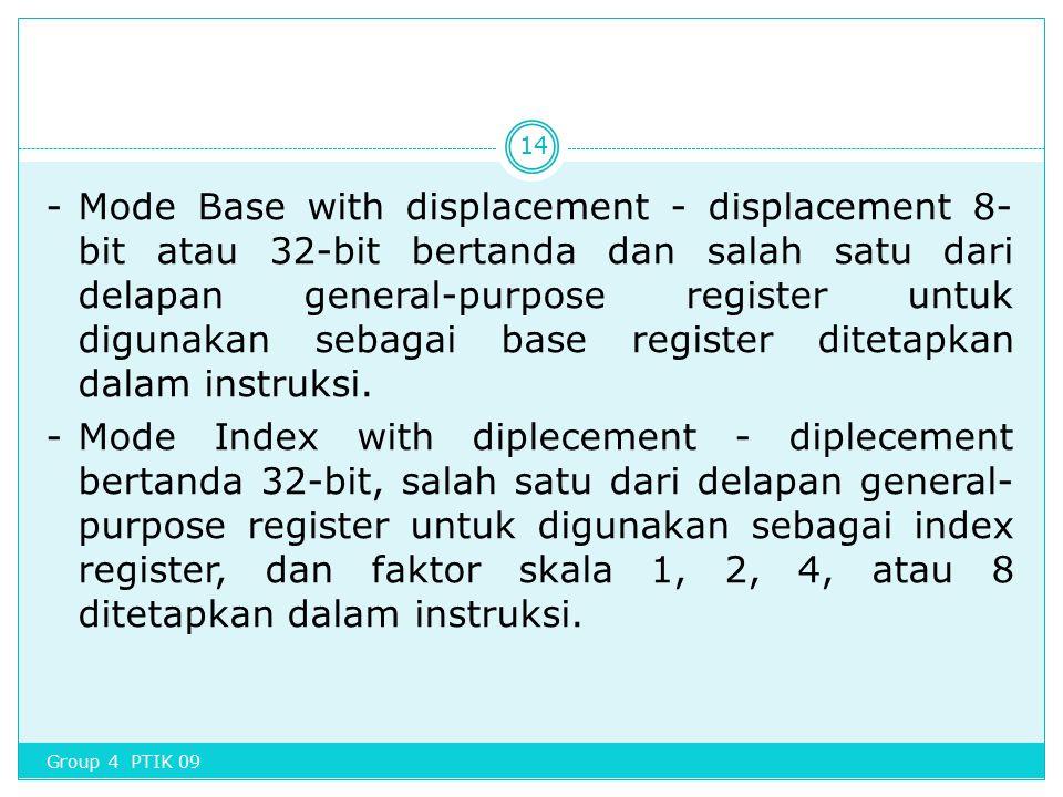 -Mode Base with displacement - displacement 8- bit atau 32-bit bertanda dan salah satu dari delapan general-purpose register untuk digunakan sebagai b