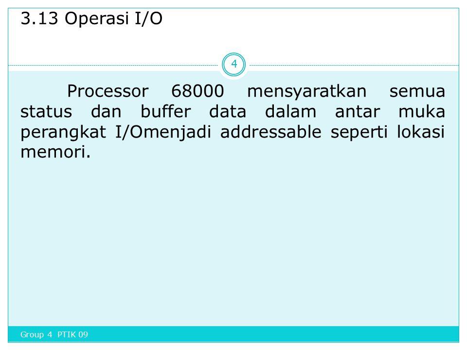 3.13 Operasi I/O Processor 68000 mensyaratkan semua status dan buffer data dalam antar muka perangkat I/Omenjadi addressable seperti lokasi memori. 4