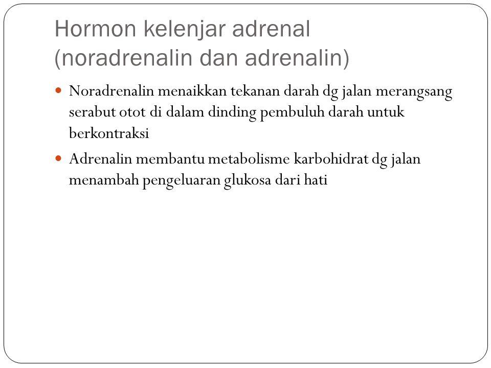 Hormon kelenjar adrenal (noradrenalin dan adrenalin) Noradrenalin menaikkan tekanan darah dg jalan merangsang serabut otot di dalam dinding pembuluh d