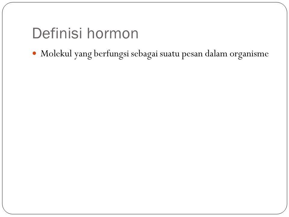 Definisi hormon Molekul yang berfungsi sebagai suatu pesan dalam organisme