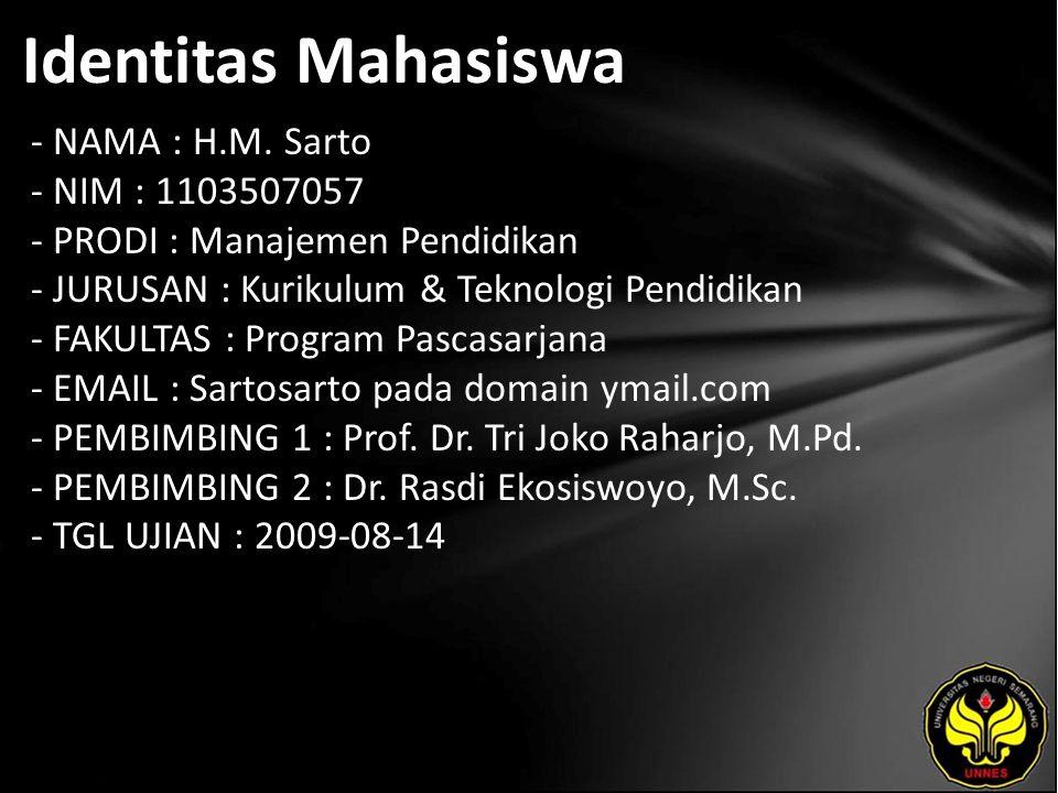 Identitas Mahasiswa - NAMA : H.M. Sarto - NIM : 1103507057 - PRODI : Manajemen Pendidikan - JURUSAN : Kurikulum & Teknologi Pendidikan - FAKULTAS : Pr