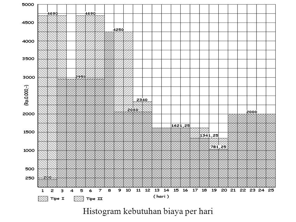 Histogram kebutuhan biaya per hari