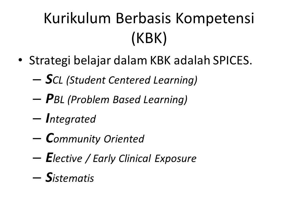 Kurikulum Berbasis Kompetensi (KBK) Strategi belajar dalam KBK adalah SPICES. – S CL (Student Centered Learning) – P BL (Problem Based Learning) – I n