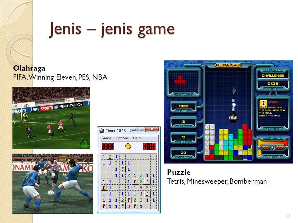 Jenis – jenis game 11 Olahraga FIFA, Winning Eleven, PES, NBA Puzzle Tetris, Minesweeper, Bomberman