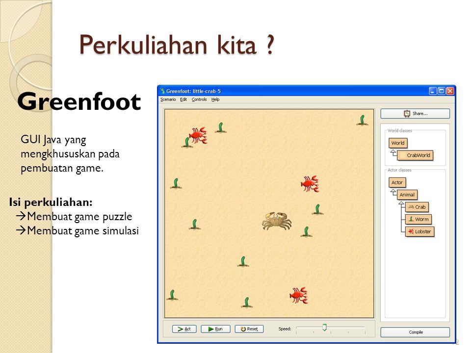 Perkuliahan kita ? 12 Greenfoot GUI Java yang mengkhususkan pada pembuatan game. Isi perkuliahan:  Membuat game puzzle  Membuat game simulasi