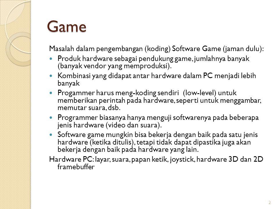Game Masalah dalam pengembangan (koding) Software Game (jaman dulu): Produk hardware sebagai pendukung game, jumlahnya banyak (banyak vendor yang memp
