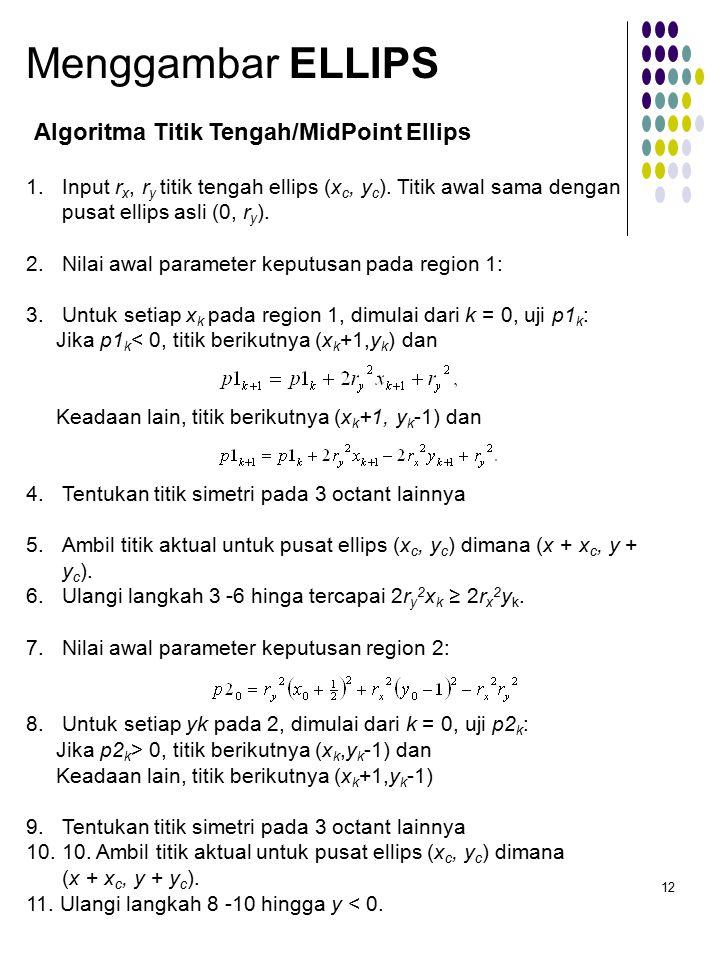 12 Algoritma Titik Tengah/MidPoint Ellips Menggambar ELLIPS 1.Input r x, r y titik tengah ellips (x c, y c ).