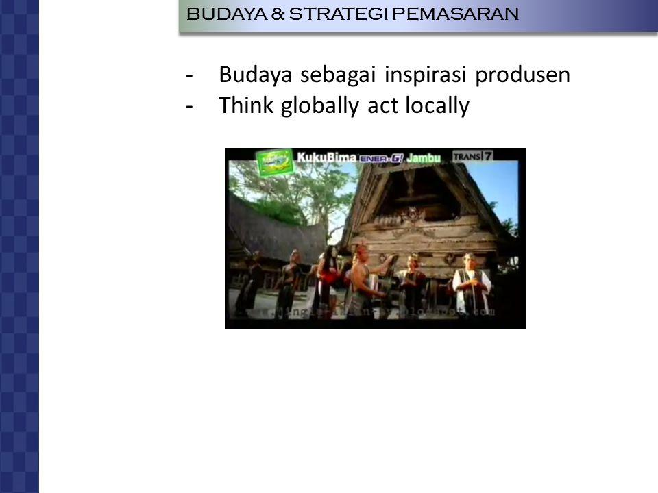 JOHAN LUKAS LEO RUMAPEA RADIUS SIAGIAN BUDAYA DAN PERILAKU KONSUMEN BUDAYA & STRATEGI PEMASARAN -Budaya sebagai inspirasi produsen -Think globally act locally