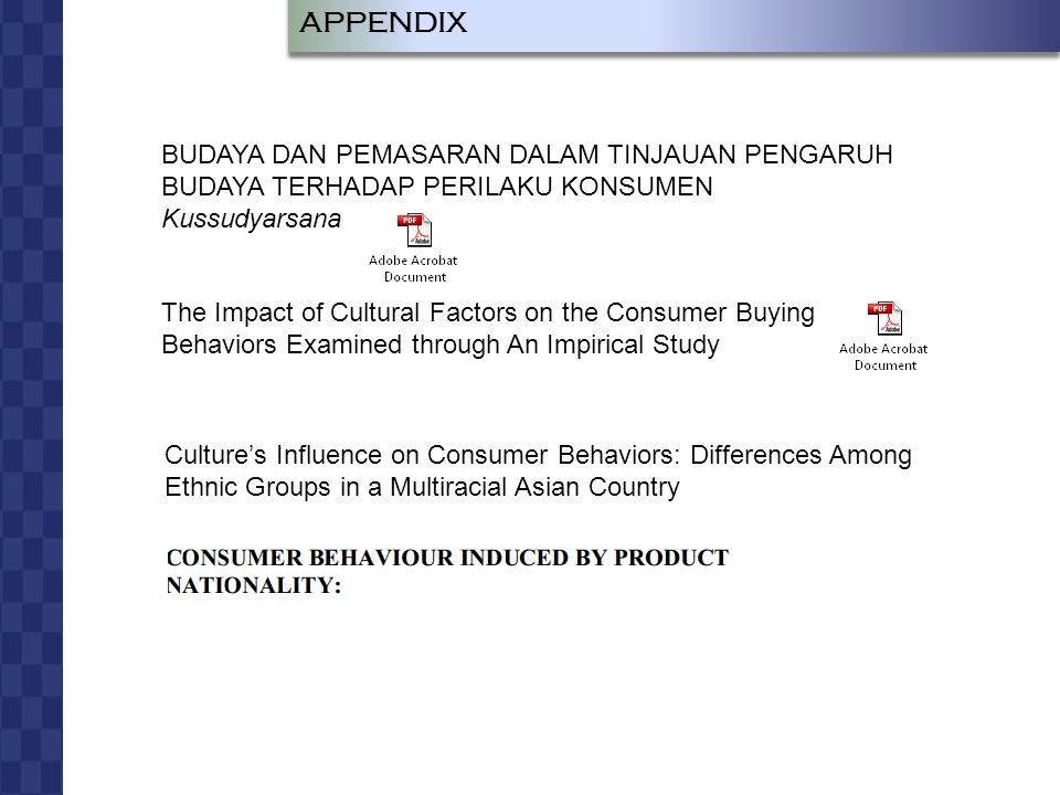 JOHAN LUKAS LEO RUMAPEA RADIUS SIAGIAN BUDAYA DAN PERILAKU KONSUMEN APPENDIX BUDAYA DAN PEMASARAN DALAM TINJAUAN PENGARUH BUDAYA TERHADAP PERILAKU KONSUMEN Kussudyarsana The Impact of Cultural Factors on the Consumer Buying Behaviors Examined through An Impirical Study Culture's Influence on Consumer Behaviors: Differences Among Ethnic Groups in a Multiracial Asian Country