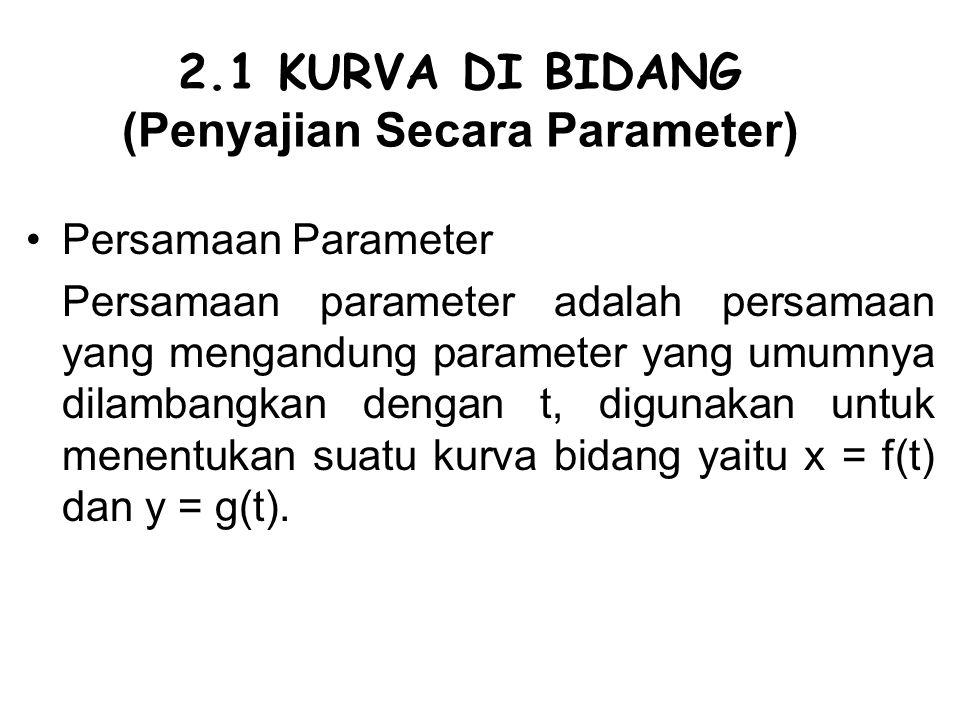 2.1 KURVA DI BIDANG (Penyajian Secara Parameter) Persamaan Parameter Persamaan parameter adalah persamaan yang mengandung parameter yang umumnya dilam
