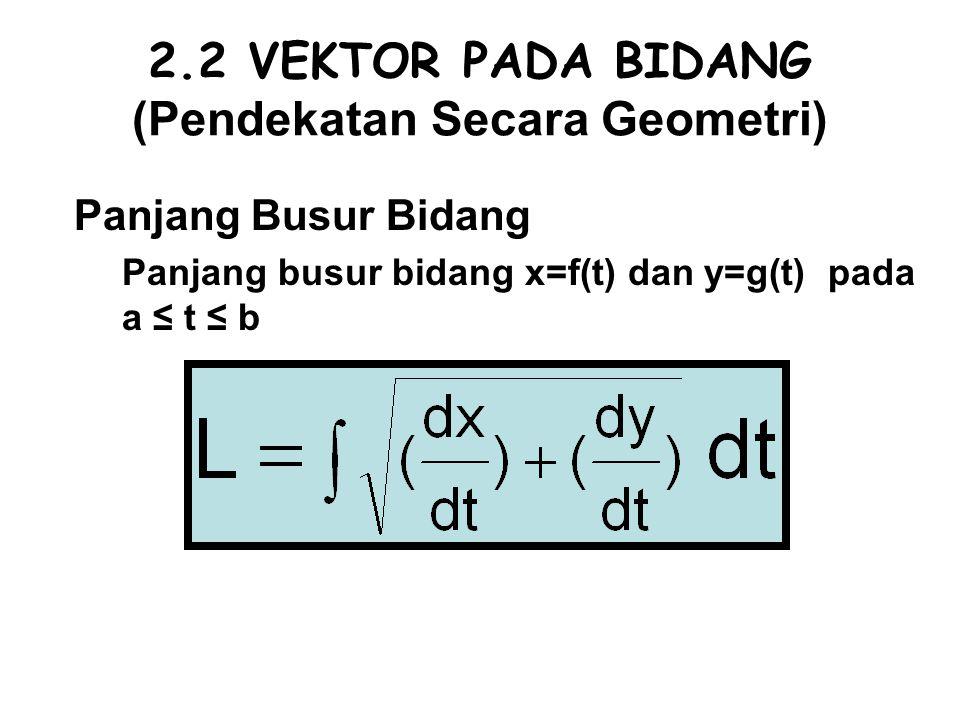 2.2 VEKTOR PADA BIDANG (Pendekatan Secara Geometri) Panjang Busur Bidang Panjang busur bidang x=f(t) dan y=g(t) pada a ≤ t ≤ b