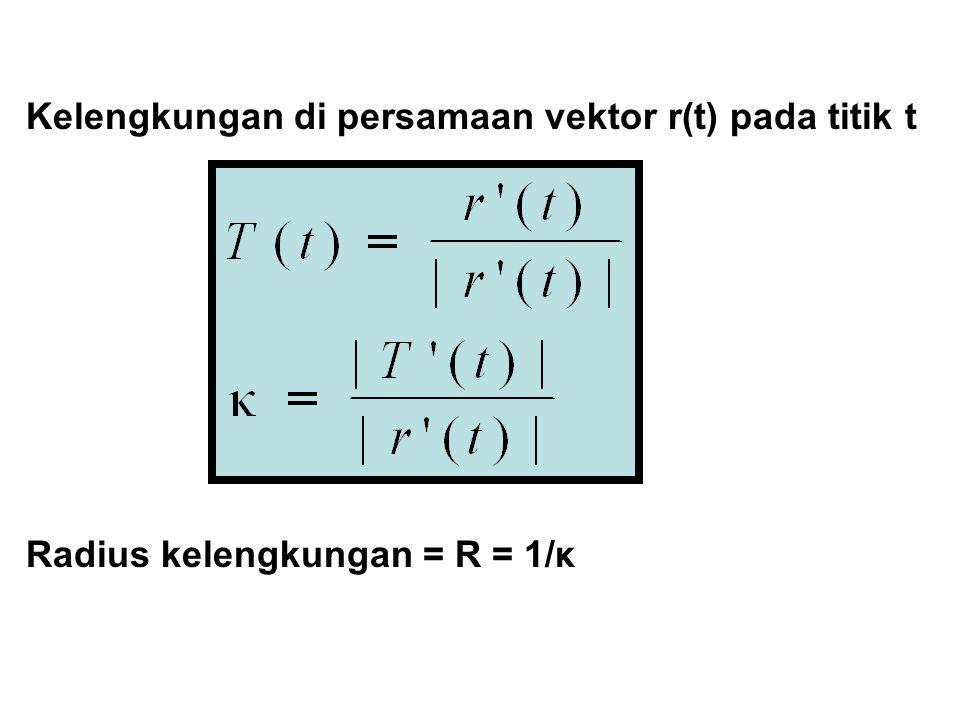 Komponen Singgung Dan Normal Cara menentukan komponen singgung (a T ) di r(t) Tentukan v = r'(t) dan a = r (t) Tentukan  v  dan  a ,maka Cara menentukan komponen normal (a N ) di r(t) Tentukan a N 2 =  a  2 – a T 2, maka a T =  v ' a N = √a N 2