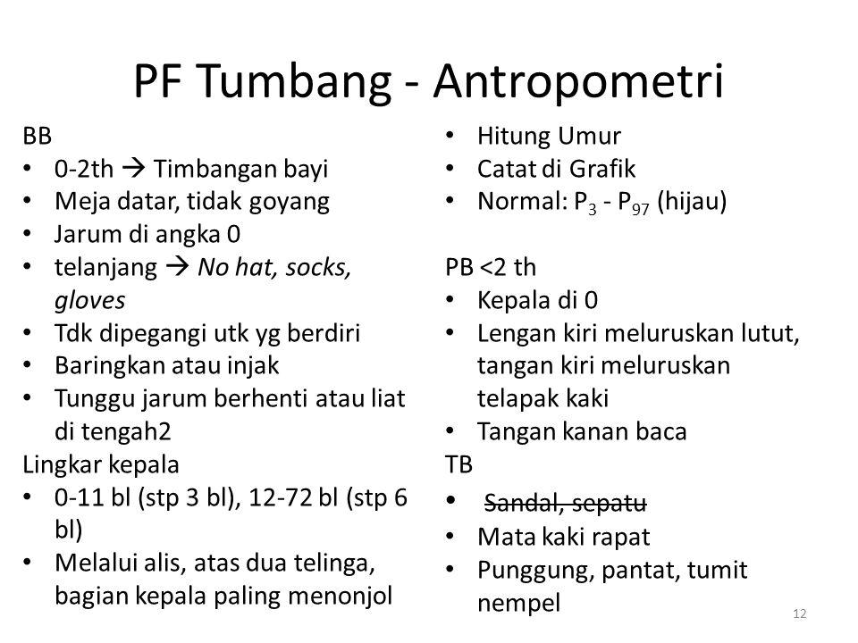 PF Tumbang - Antropometri BB 0-2th  Timbangan bayi Meja datar, tidak goyang Jarum di angka 0 telanjang  No hat, socks, gloves Tdk dipegangi utk yg b