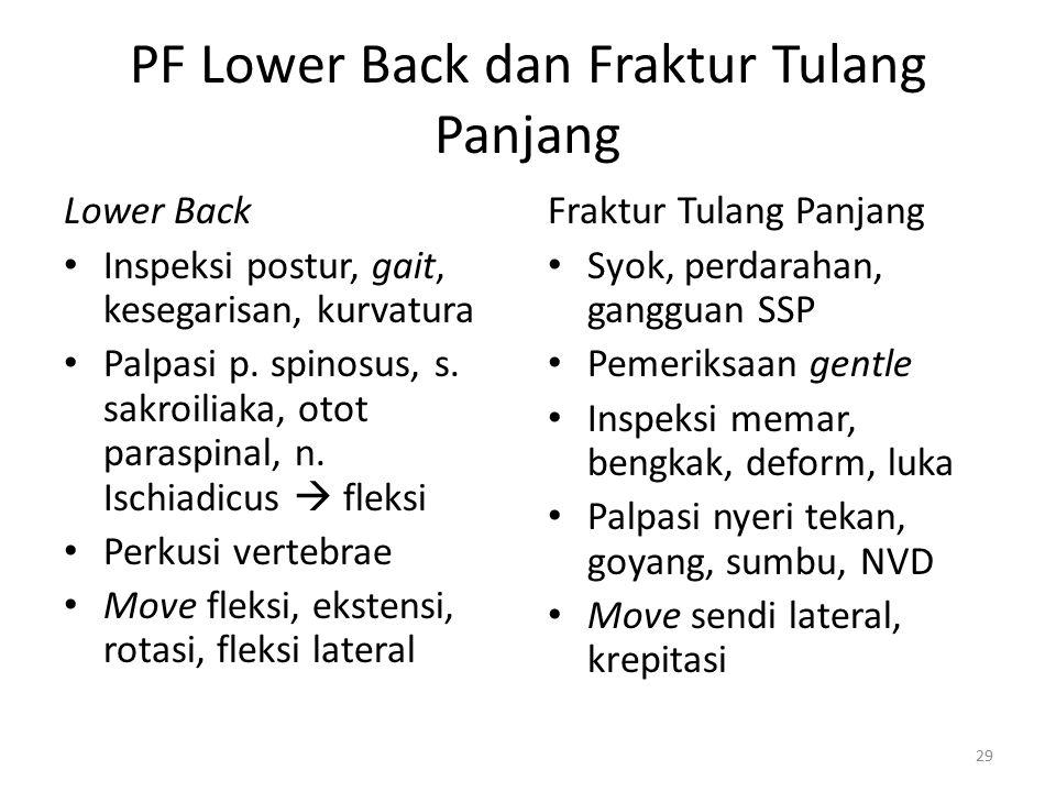 PF Lower Back dan Fraktur Tulang Panjang Lower Back Inspeksi postur, gait, kesegarisan, kurvatura Palpasi p. spinosus, s. sakroiliaka, otot paraspinal