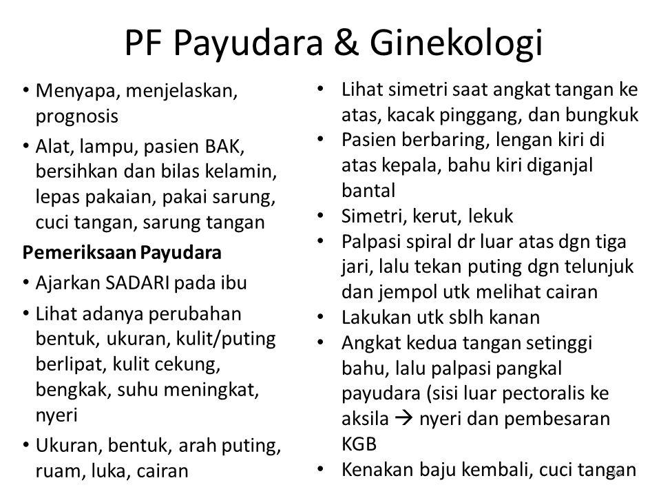 PF Payudara & Ginekologi Menyapa, menjelaskan, prognosis Alat, lampu, pasien BAK, bersihkan dan bilas kelamin, lepas pakaian, pakai sarung, cuci tanga