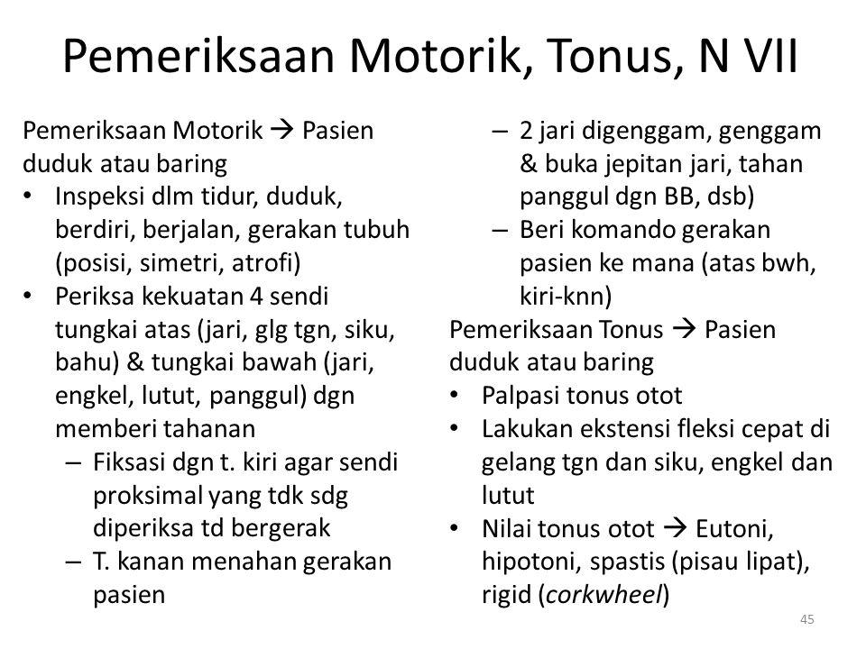 Pemeriksaan Motorik, Tonus, N VII Pemeriksaan Motorik  Pasien duduk atau baring Inspeksi dlm tidur, duduk, berdiri, berjalan, gerakan tubuh (posisi,