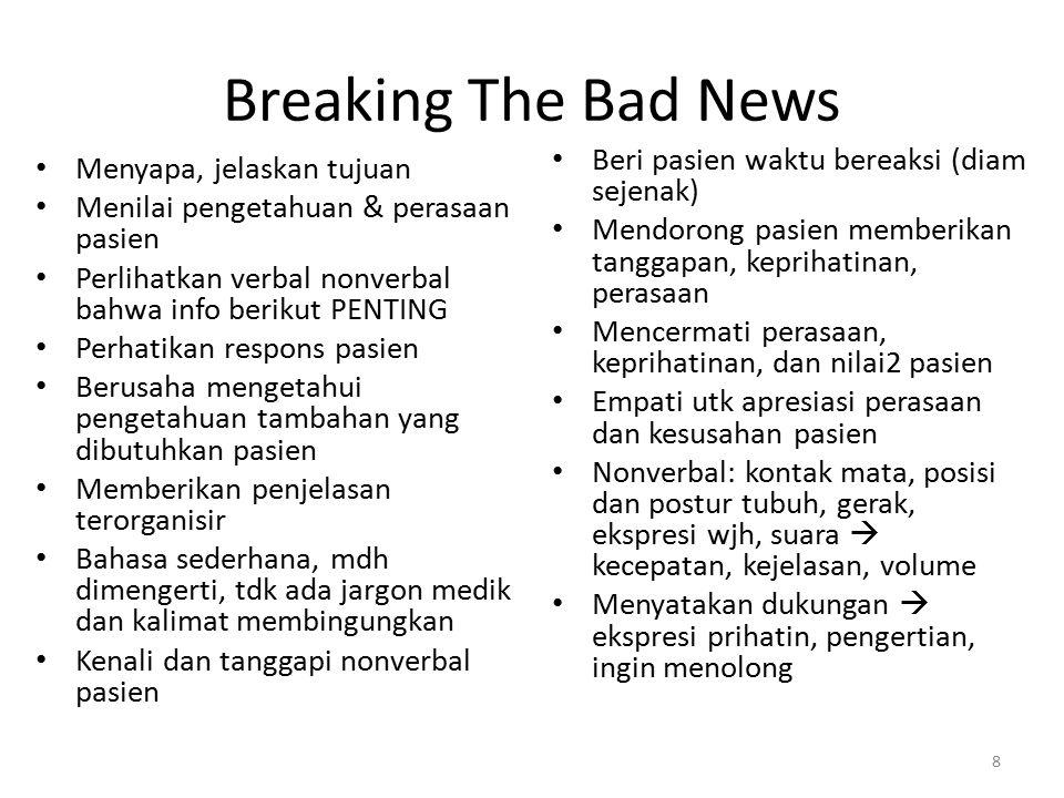 Breaking The Bad News Menyapa, jelaskan tujuan Menilai pengetahuan & perasaan pasien Perlihatkan verbal nonverbal bahwa info berikut PENTING Perhatika