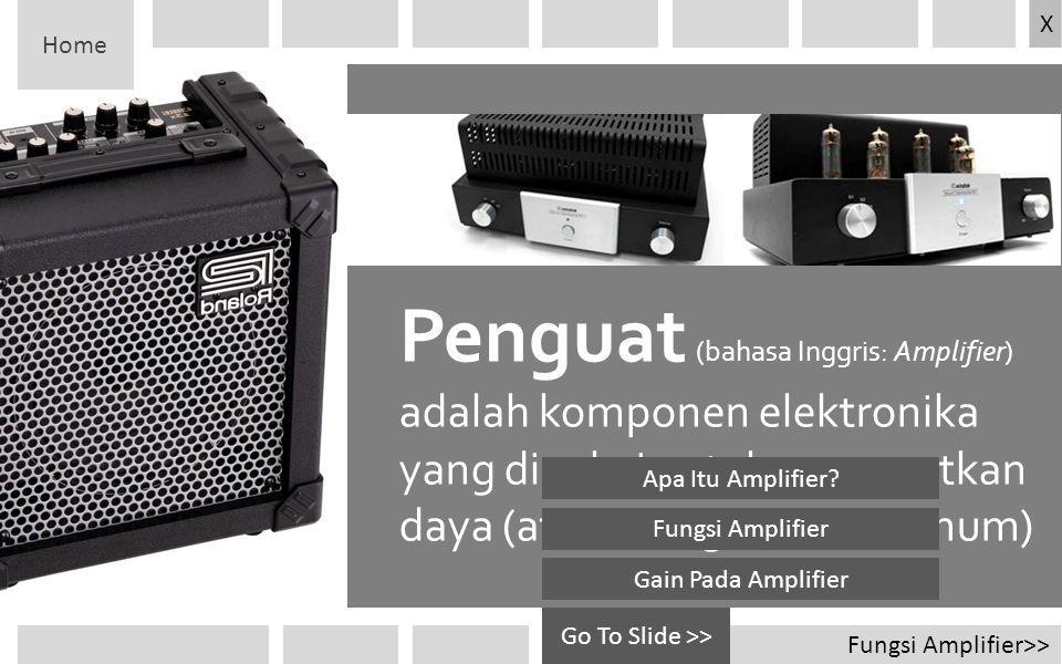 Fungsi Amplifier>> Go To Slide >> Penguat (bahasa Inggris: Amplifier) adalah komponen elektronika yang dipakai untuk menguatkan daya (atau tenaga seca