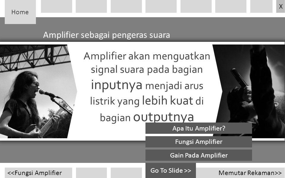 Home Amplifier sebagai pengeras suara Memutar Rekaman>><<Fungsi Amplifier Amplifier akan menguatkan signal suara pada bagian inputnya menjadi arus lis