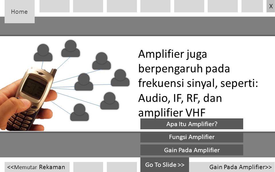 Home Amplifier juga berpengaruh pada frekuensi sinyal, seperti: Audio, IF, RF, dan amplifier VHF Gain Pada Amplifier>><< Memutar Rekaman X Go To Slide