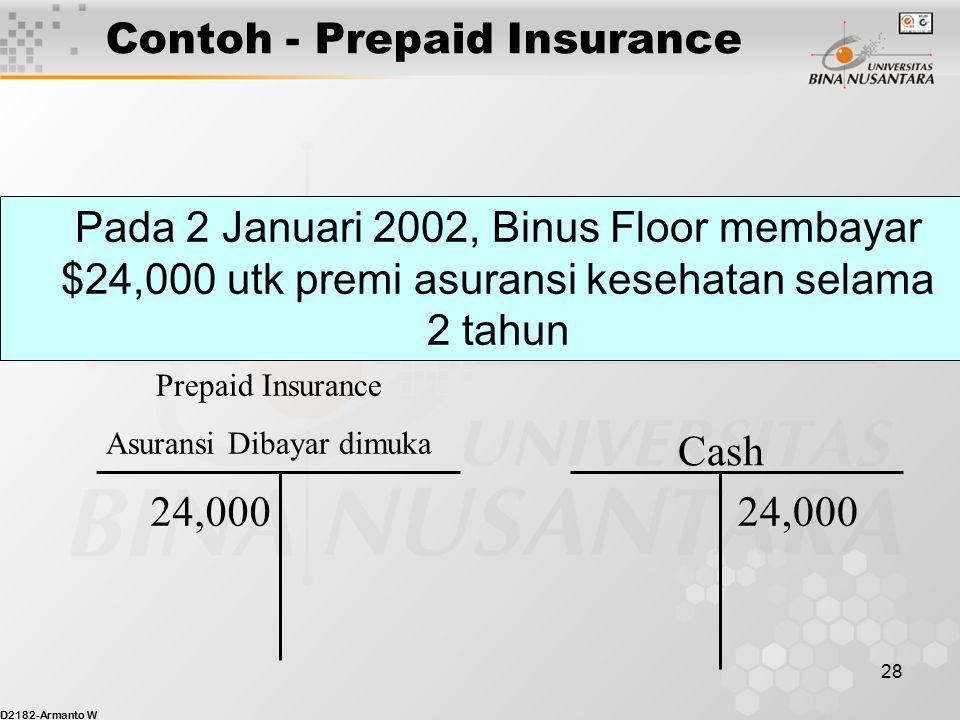 D2182-Armanto W 27 Prepaid Expense / Beban Dibayar Dimuka Kas dibayarkan dimuka dan terciptalah suatu asset, contoh pembayaran premi asuransi Jurnal p