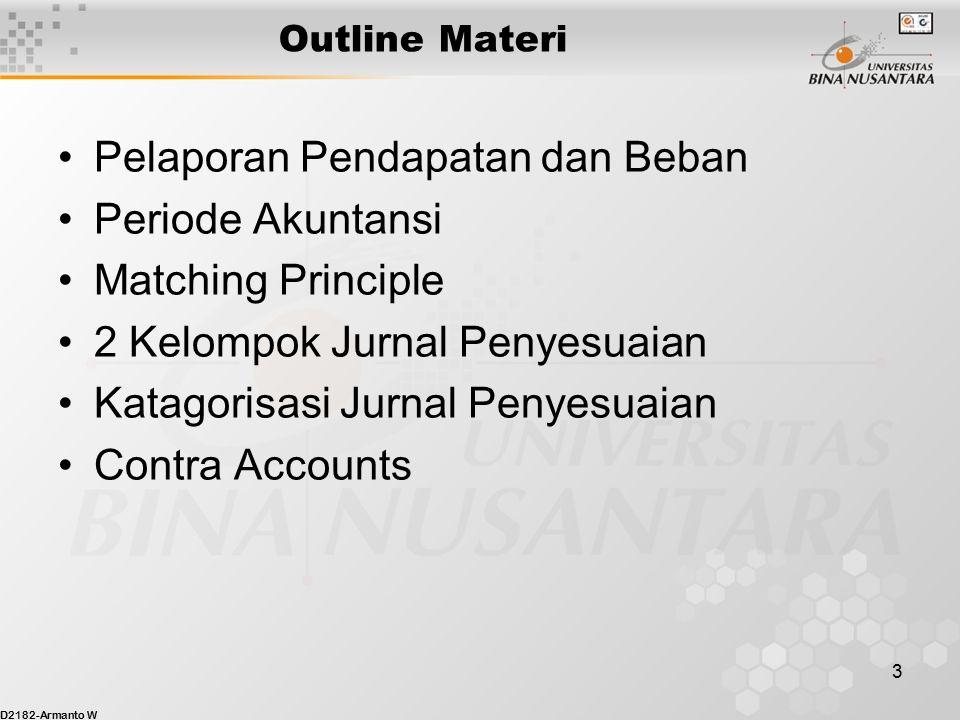 D2182-Armanto W 3 Outline Materi Pelaporan Pendapatan dan Beban Periode Akuntansi Matching Principle 2 Kelompok Jurnal Penyesuaian Katagorisasi Jurnal Penyesuaian Contra Accounts