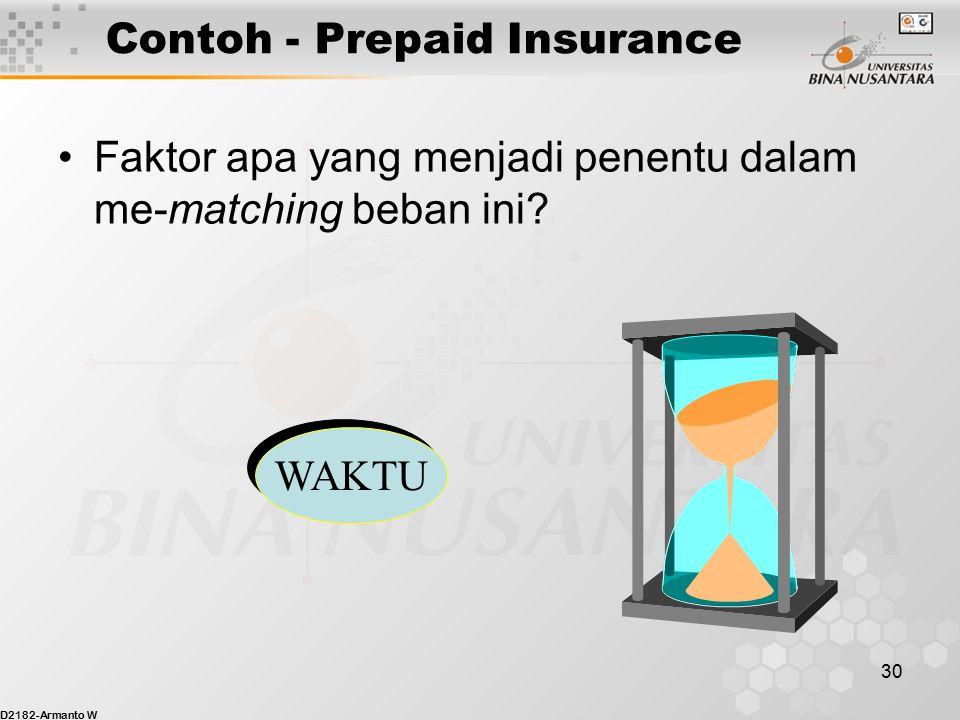 D2182-Armanto W 29 Contoh - Prepaid Insurance Jurnal penyesuaian per 31 Desember 2002? 31 Desember, 2002 Beban Asuransi 12,000 Asuransi Dibayar Dimuka