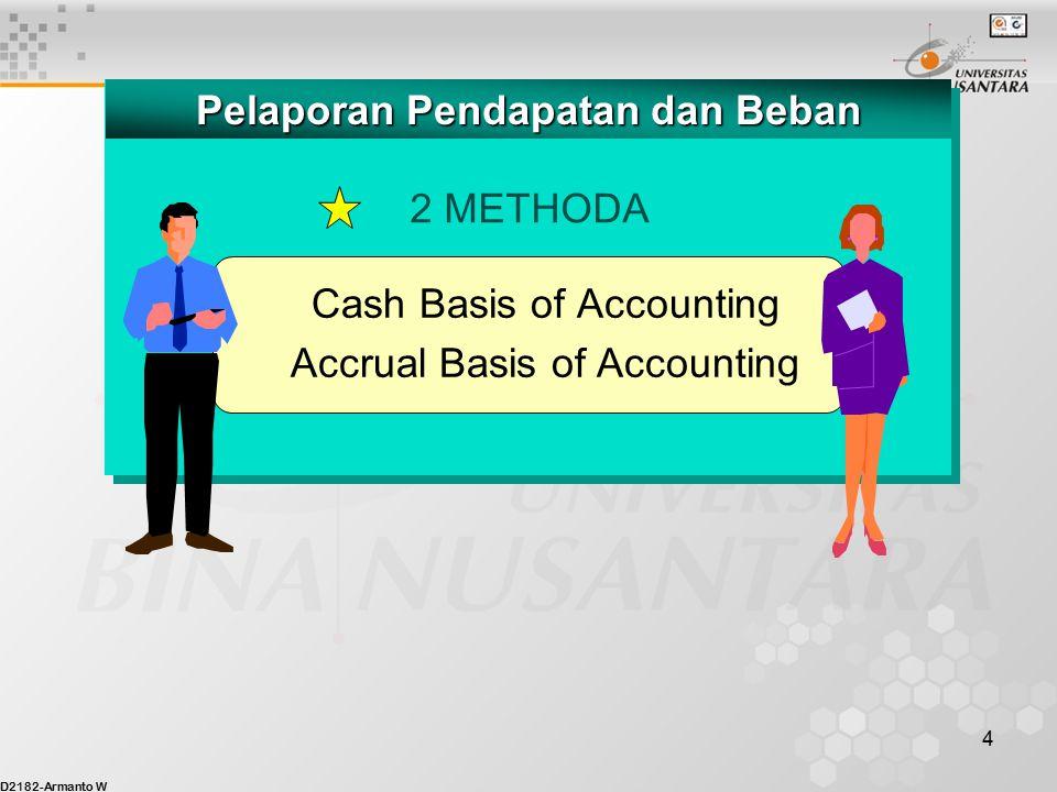D2182-Armanto W 4 2 METHODA Pelaporan Pendapatan dan Beban Cash Basis of Accounting Accrual Basis of Accounting
