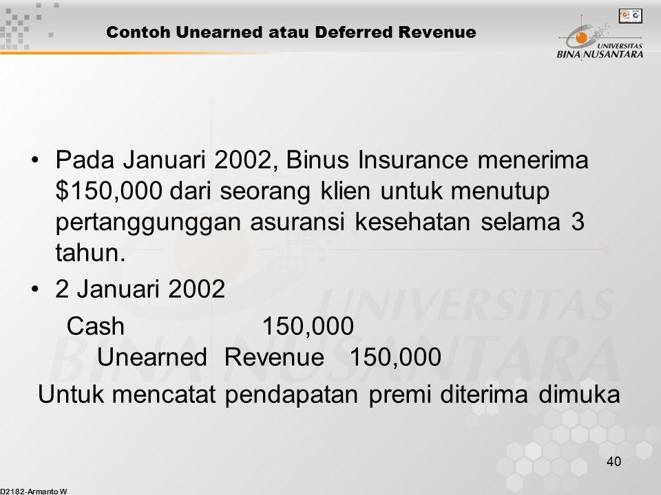 D2182-Armanto W 39 Pendapatan diterima dimuka / Unearned Revenue Unearned revenue (deferred revenue) – adalah pendapatan yang diterima dan dicatat seb