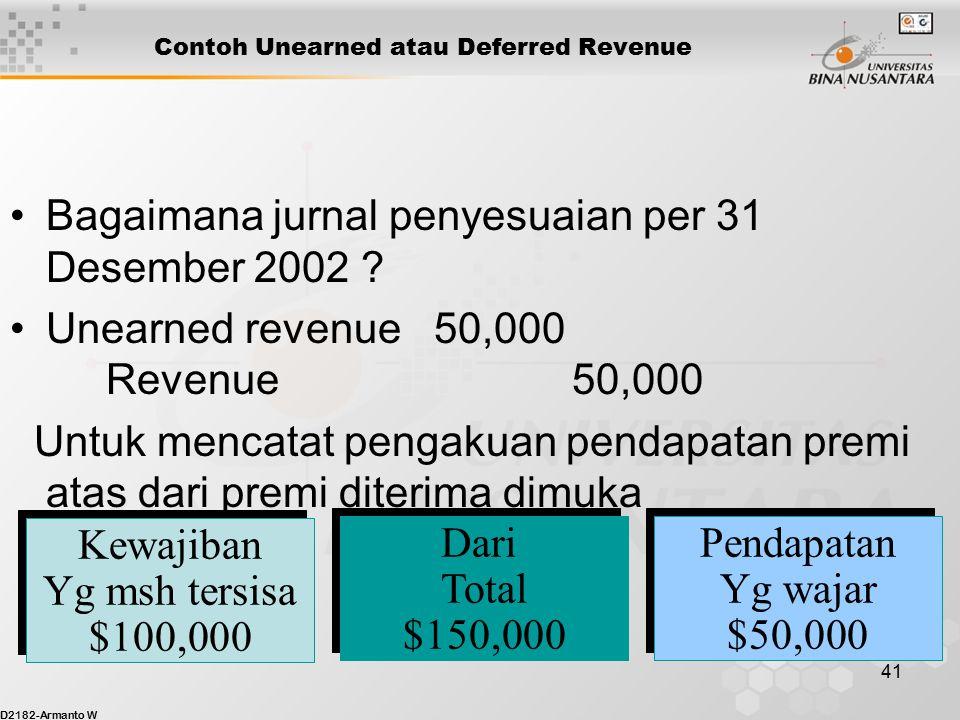 D2182-Armanto W 40 Contoh Unearned atau Deferred Revenue Pada Januari 2002, Binus Insurance menerima $150,000 dari seorang klien untuk menutup pertang