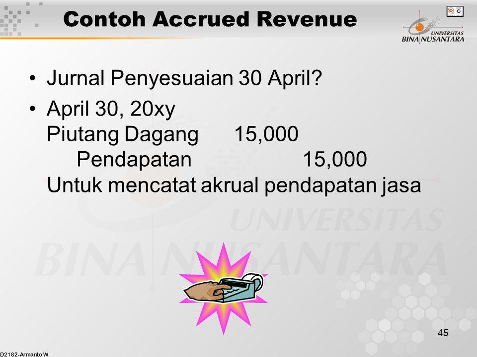 D2182-Armanto W 44 Contoh Accrued Revenue Selam bulan April, Binus Business Services telah memberi jasa pada para pelanggan bernilai total $15,000. Hi