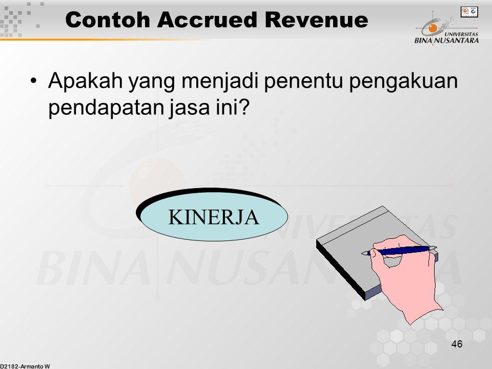 D2182-Armanto W 45 Contoh Accrued Revenue Jurnal Penyesuaian 30 April? April 30, 20xy Piutang Dagang 15,000 Pendapatan 15,000 Untuk mencatat akrual pe