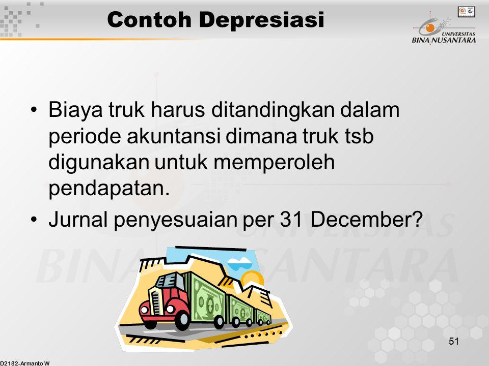 D2182-Armanto W 50 Contoh Depresiasi Tgl 2 Januari Binus Enterprise membeli sebuah truk seharga $30,000 tunai. Truck tsb diharapkan memberi manfaat se