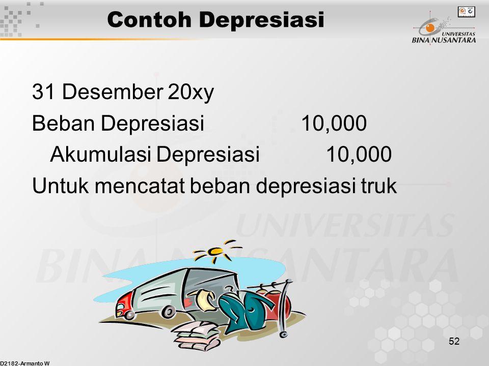 D2182-Armanto W 51 Contoh Depresiasi Biaya truk harus ditandingkan dalam periode akuntansi dimana truk tsb digunakan untuk memperoleh pendapatan. Jurn