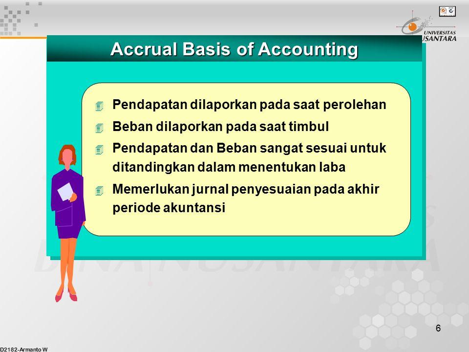 D2182-Armanto W 5 Cash Basis of Accounting 4 Pendapatan/Revenue dilaporkan ketika kas diterima 4 Beban/Expense dilaporkan ketika kas dibayarkan 4 Pend