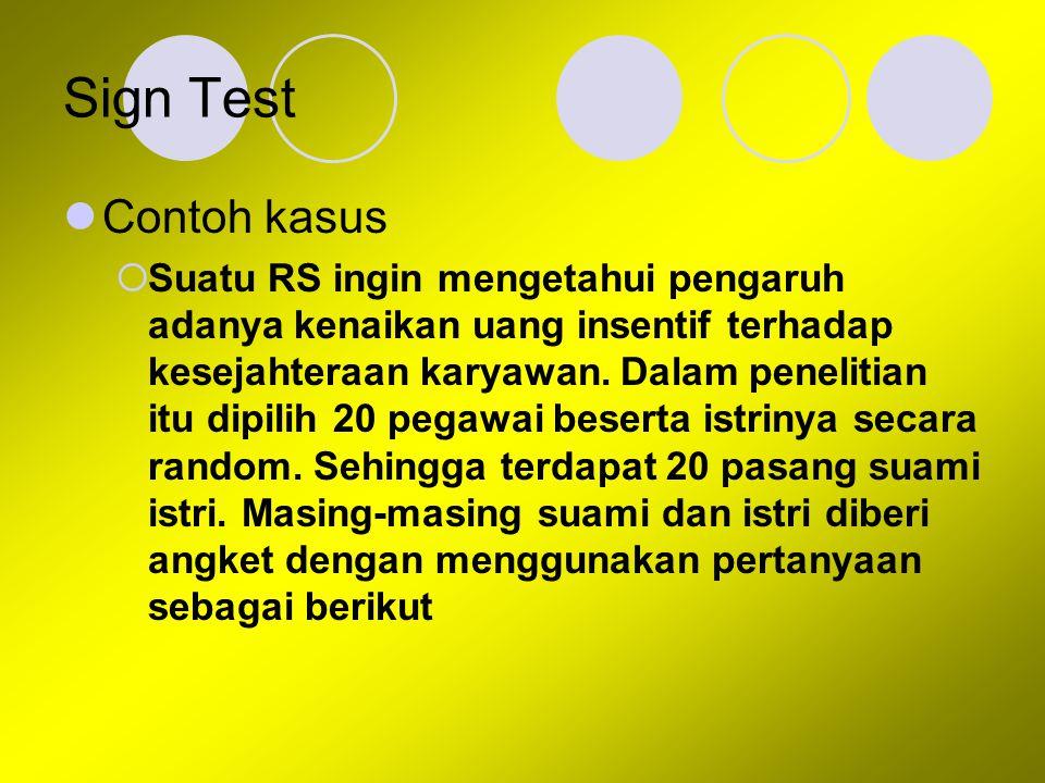 Sign Test Contoh kasus  Suatu RS ingin mengetahui pengaruh adanya kenaikan uang insentif terhadap kesejahteraan karyawan. Dalam penelitian itu dipili
