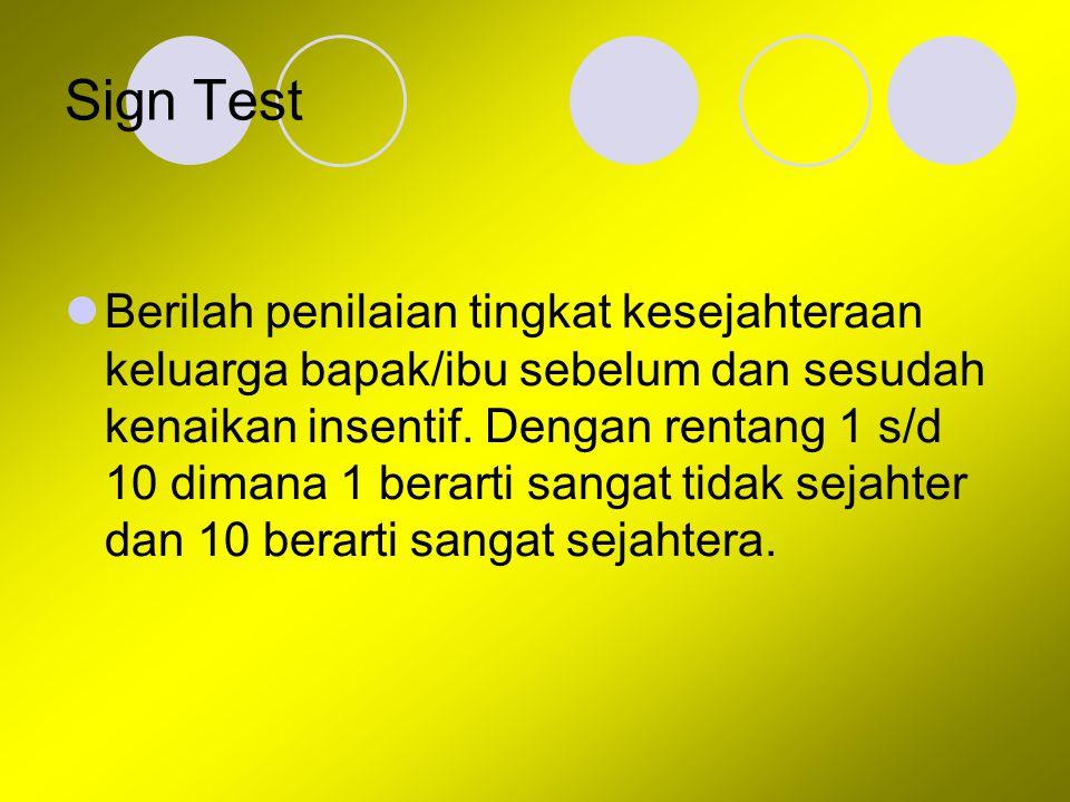 Sign Test Berilah penilaian tingkat kesejahteraan keluarga bapak/ibu sebelum dan sesudah kenaikan insentif. Dengan rentang 1 s/d 10 dimana 1 berarti s