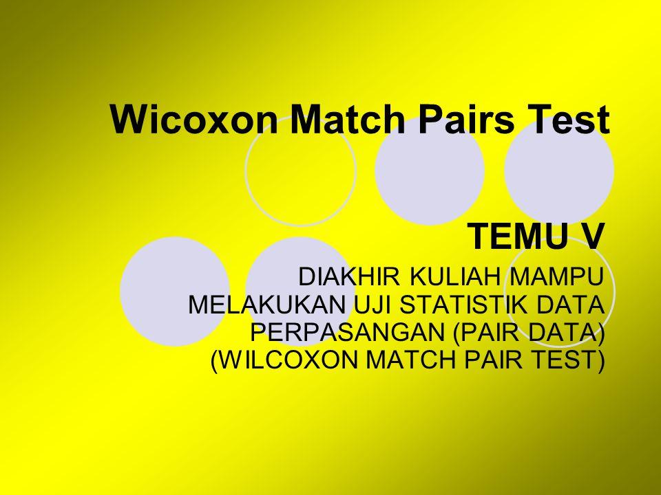 Wicoxon Match Pairs Test Untuk menguji hipotesis komparatif dua sampel yang berhubungan.