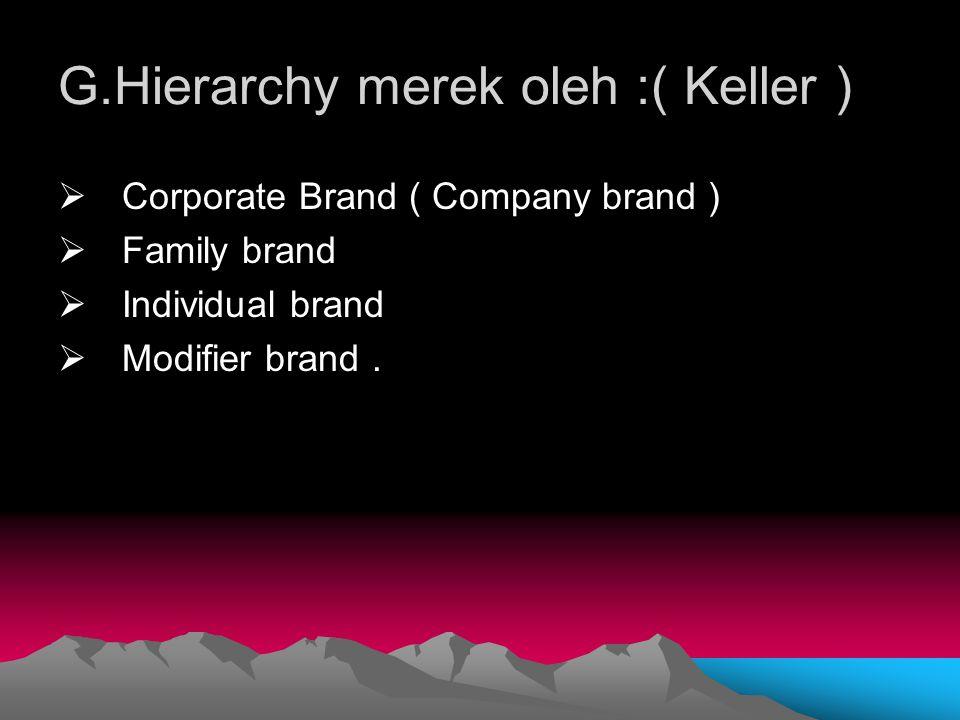 G.Hierarchy merek oleh :( Keller )  Corporate Brand ( Company brand )  Family brand  Individual brand  Modifier brand.