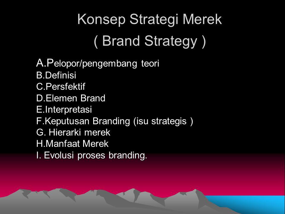 Konsep Strategi Merek ( Brand Strategy ) A.P elopor/pengembang teori B.DefinisiC.Persfektif D.Elemen Brand E.Interpretasi F.Keputusan Branding (isu st