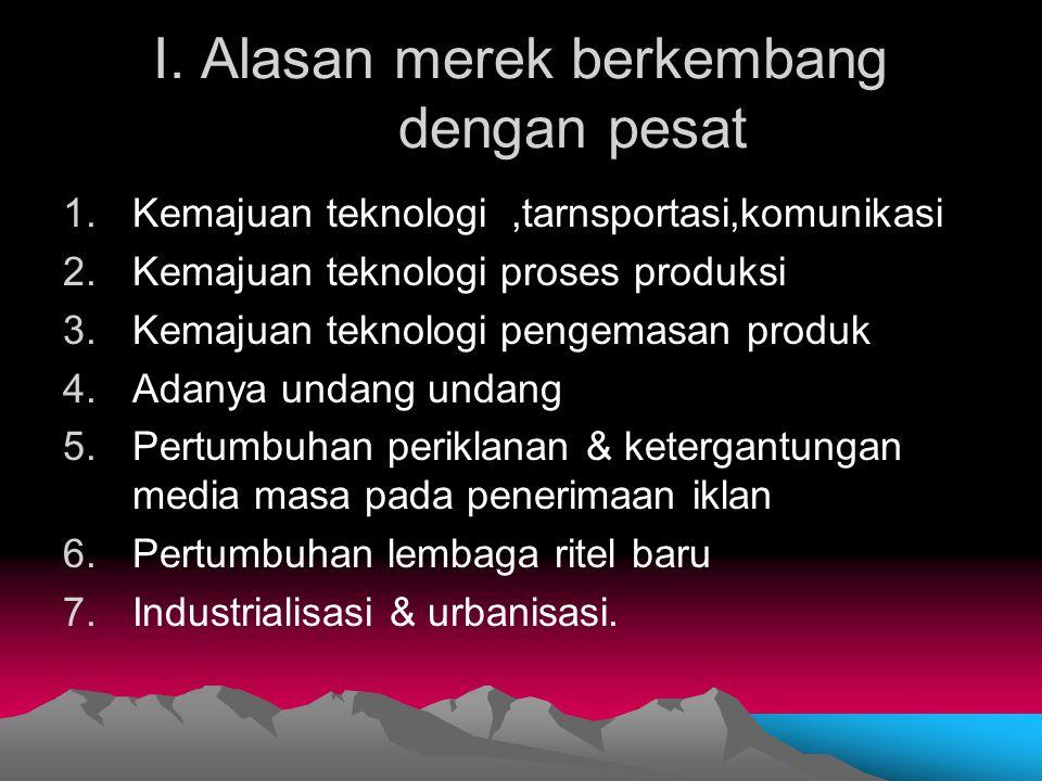 I. Alasan merek berkembang dengan pesat 1.Kemajuan teknologi,tarnsportasi,komunikasi 2.Kemajuan teknologi proses produksi 3.Kemajuan teknologi pengema