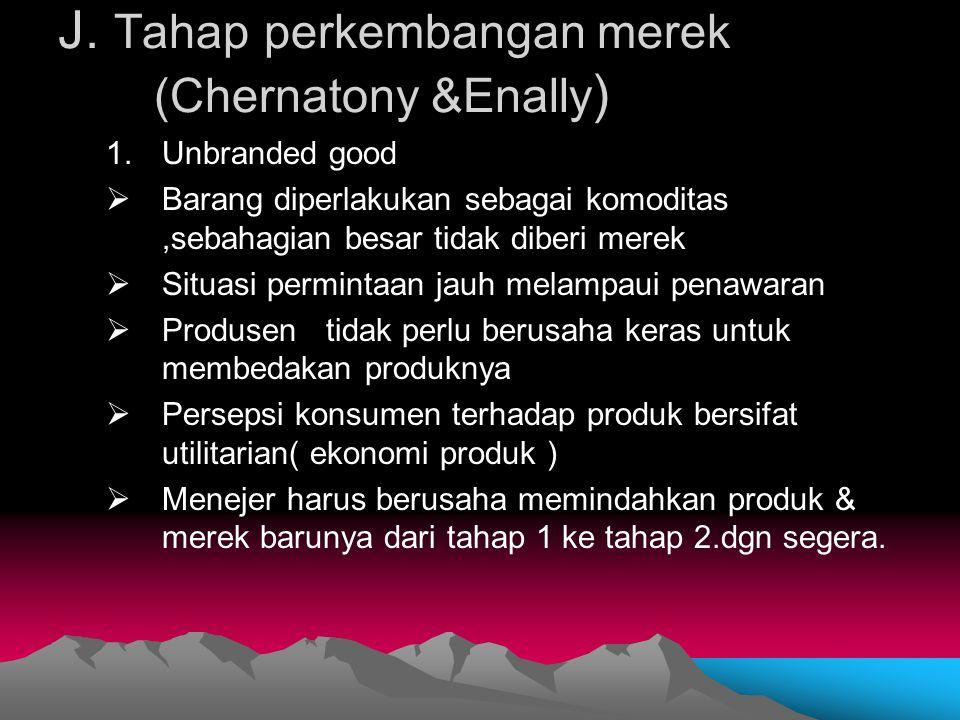 J. Tahap perkembangan merek (Chernatony &Enally ) 1.Unbranded good  Barang diperlakukan sebagai komoditas,sebahagian besar tidak diberi merek  Situa